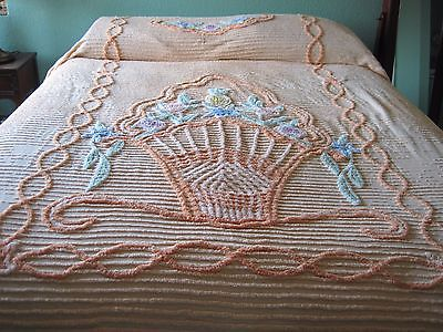 Floral themed vintage chenille bedspread