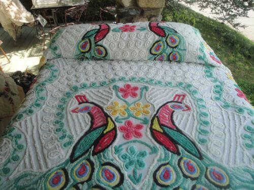 Peacock vintage chenille bedspread