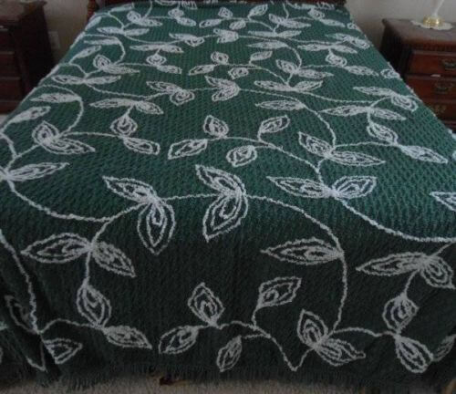 Green with leaves vintage chenille bedspread.