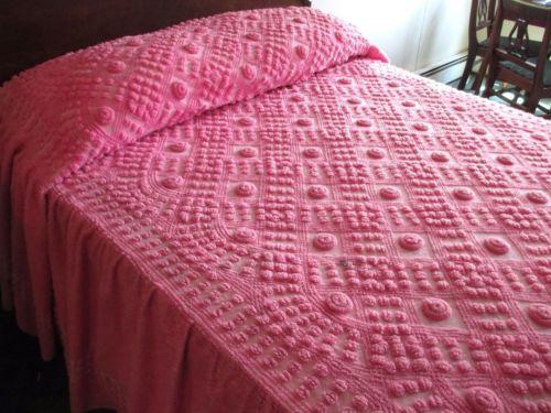 Diamond chenille bedspread