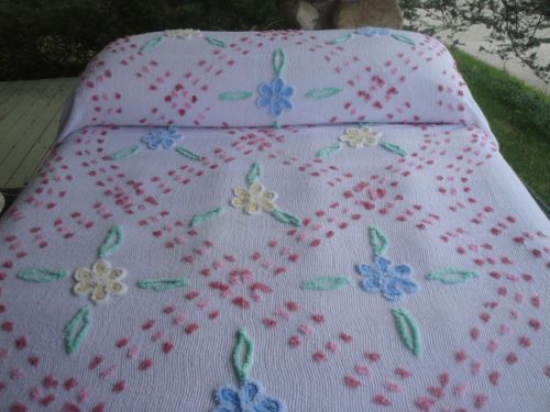 Vintage chenille bedspread with flowers