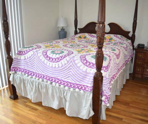 Lavender Vintage Chenille Bedspread
