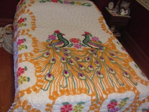Vintage chenille orange peacock