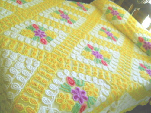 Yellow Vintage Chenille Bedspread