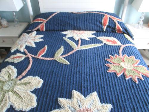 Blue vintage chenille bedspread